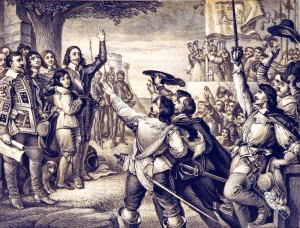 Charles I and the repercussions of the English Civil War brought an 18 year ban on producing theater.