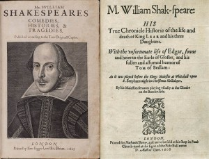 The title page of the First Folio.