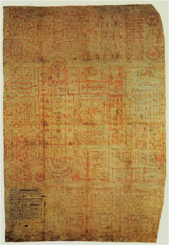 The original Plans of St. Gall, made of 5 sheets of parchment, sewn together, and labeled in Latin. (The Plan of Saint Gall)