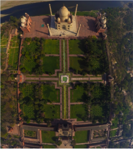Right: An aerial view of the gardens of the Taj Mahal in Agra, India. While built nearly 2,000 years after the first Persian Empire, it clearly shows the strong influence of Charbagh style gardening on surrounding cultures. (Alias)