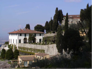 The Villa Medici in Fiesole (north of Florence), created around 1455-1461 by Giovanni de' Medici. (Gardens in Tuscany)