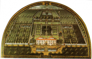 A lunette (painting in a semicircular architectural space) of Villa Castello in Florence, Italy, by Giusto Utens (1598) (Gardens in Tuscany)